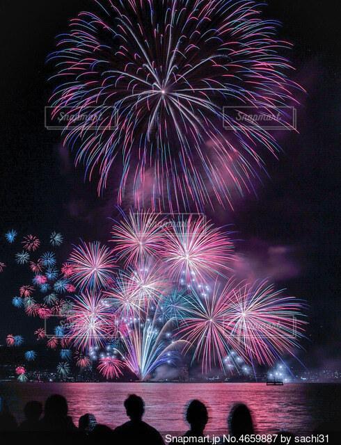 空の花火の群の写真・画像素材[4659887]