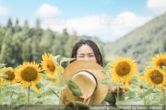 ひまわり畑と笑顔の女の子の写真・画像素材[2914040]
