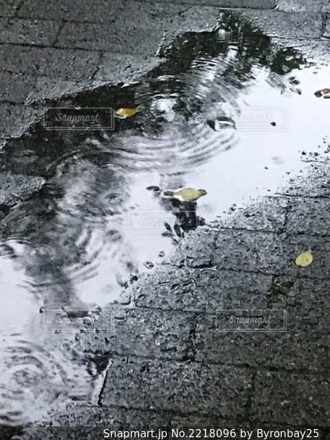 水溜りの波紋がきれい。の写真・画像素材[2218096]