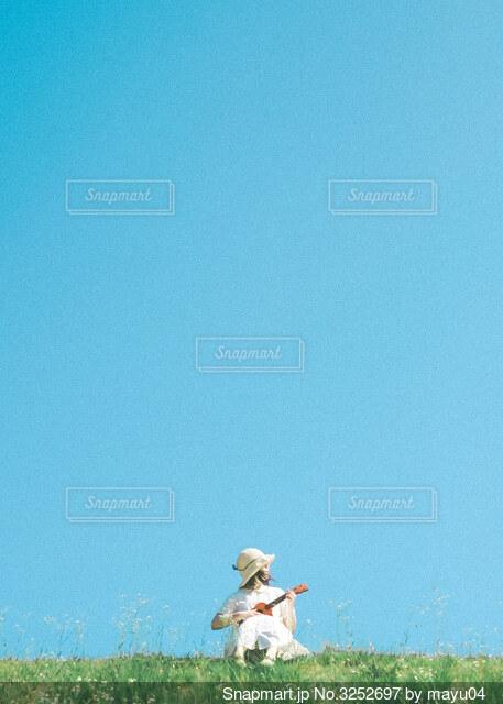 野原とウクレレの写真・画像素材[3252697]