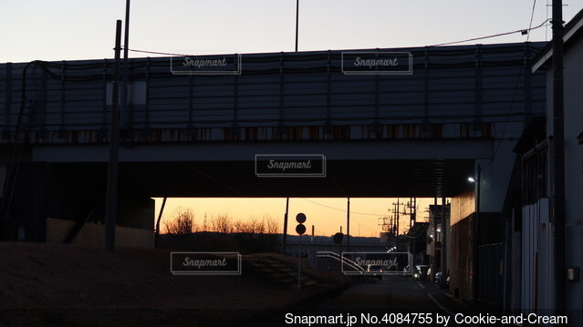 日の出を見に高速道路の下をくぐって行くの写真・画像素材[4084755]