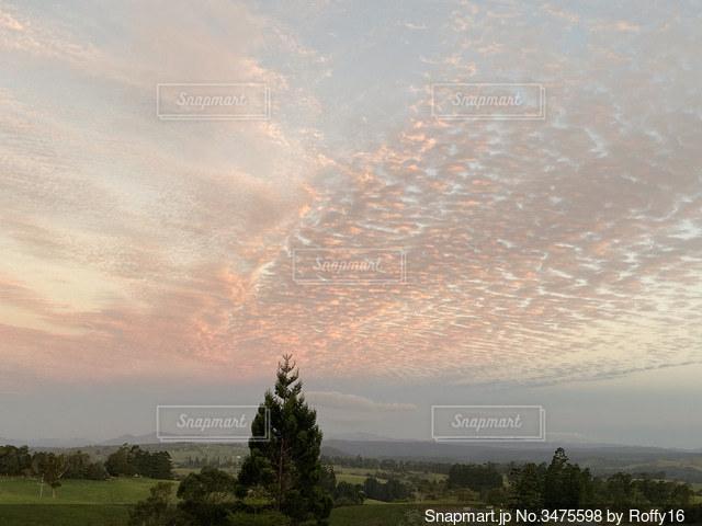 雄大な高原から見る夕日の写真・画像素材[3475598]