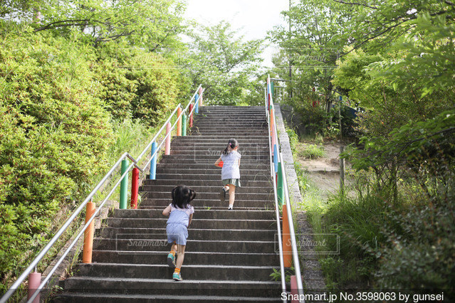 夏の公園の階段を駆け上がる姉妹の写真・画像素材[3598063]