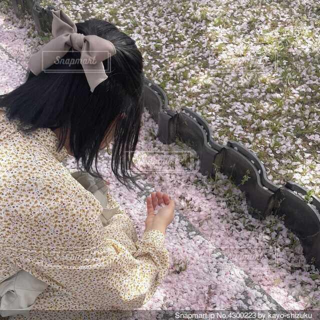 桜の花びらと女の子の写真・画像素材[4300223]