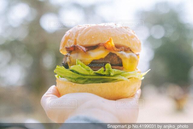 ハンバーガーを持っている手の写真・画像素材[4199031]