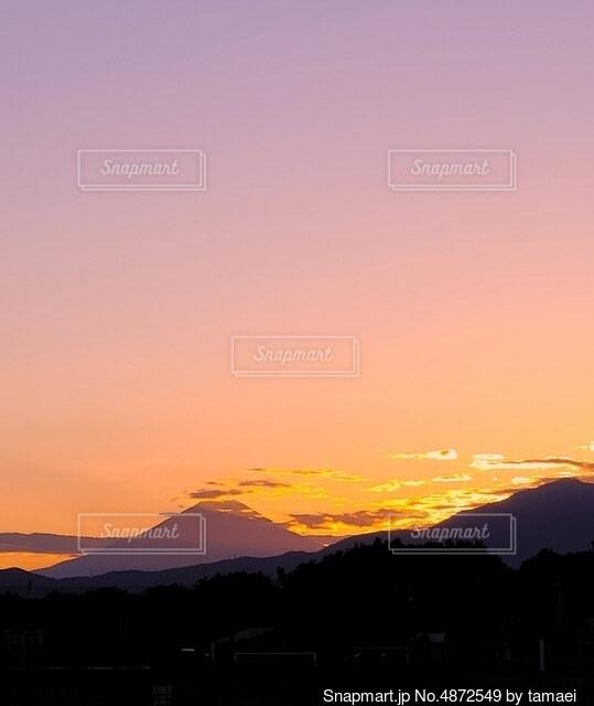 富士山と夕焼けの写真・画像素材[4872549]
