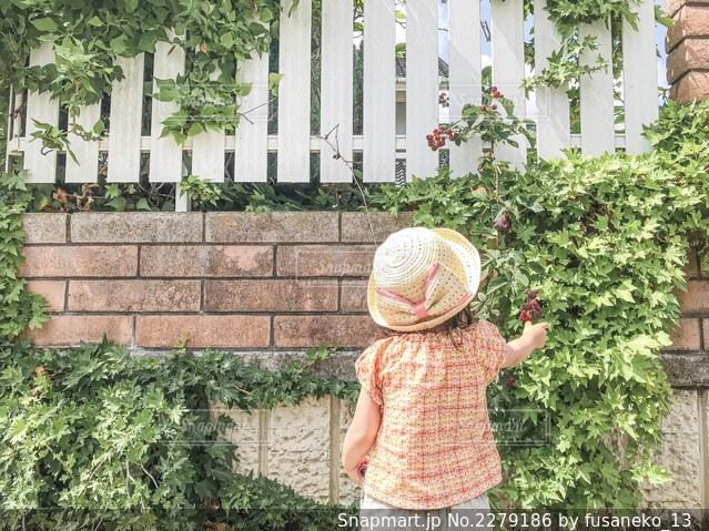 建物の前に立っている小さな女の子の写真・画像素材[2279186]