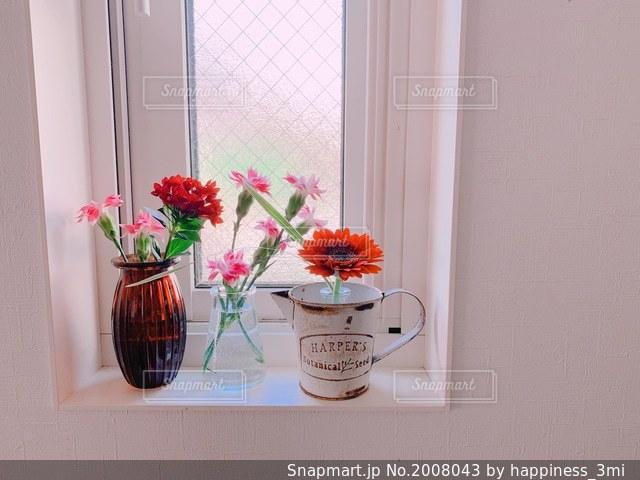 花瓶とボルドーの花が映えるリビングの出窓の写真・画像素材[2008043]