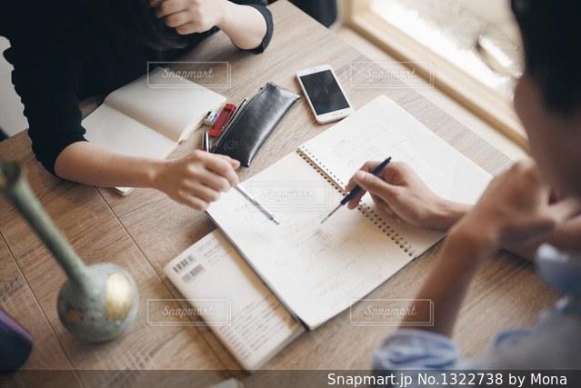 机に座っている人々 のグループの写真・画像素材[1322738]
