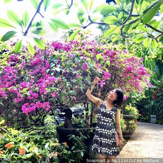 花の庭に立っている女性の写真・画像素材[1334312]