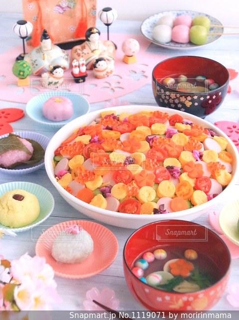 ひな祭りの水玉寿司の写真・画像素材[1119071]