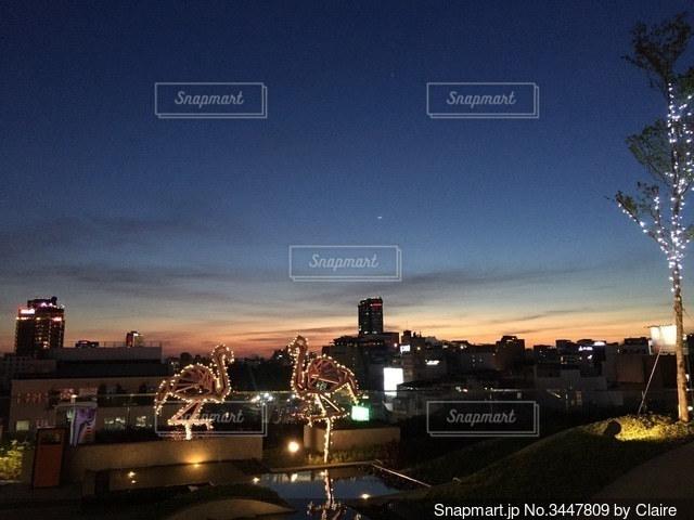 屋上からの夕焼けの写真・画像素材[3447809]