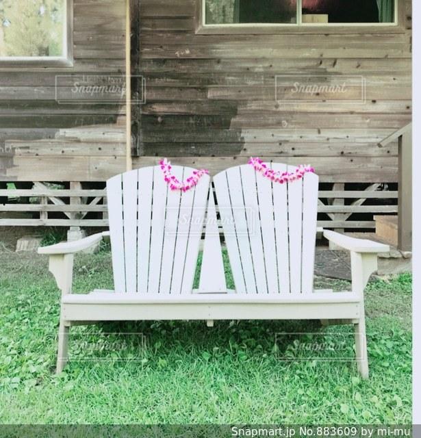 椅子に座っての芝生の椅子のグループの写真・画像素材[883609]