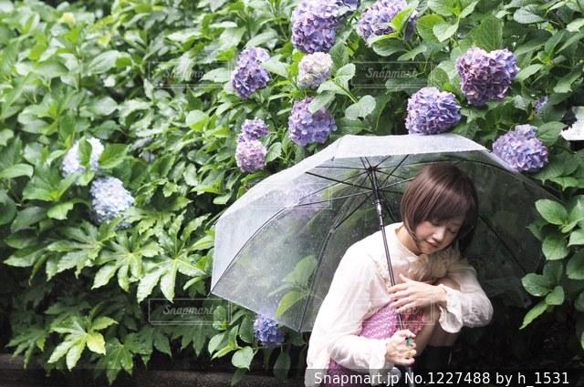 庭で赤ちゃんを持っている人の写真・画像素材[1227488]