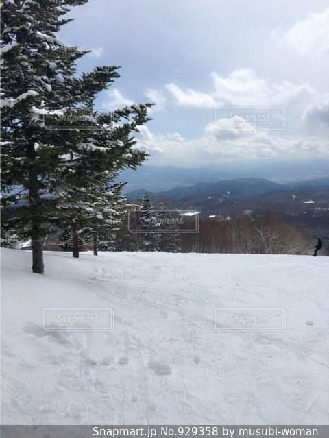雪に覆われた斜面をスキーに乗る男の写真・画像素材[929358]