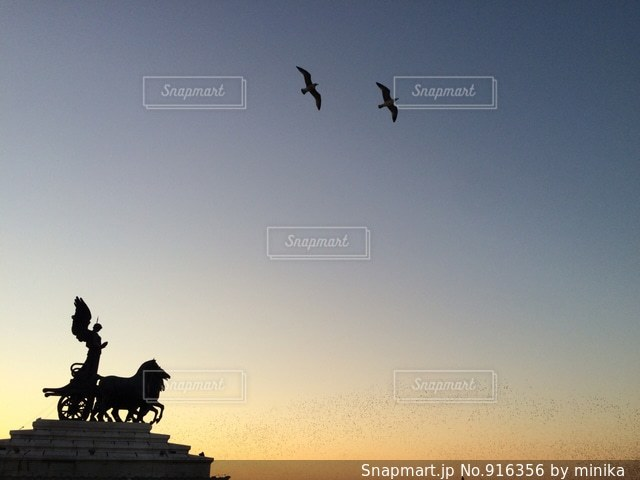 イタリアローマの夕焼けの写真・画像素材[916356]