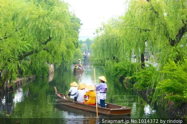 ツリーの横にある川に小さいボートの写真・画像素材[1014372]