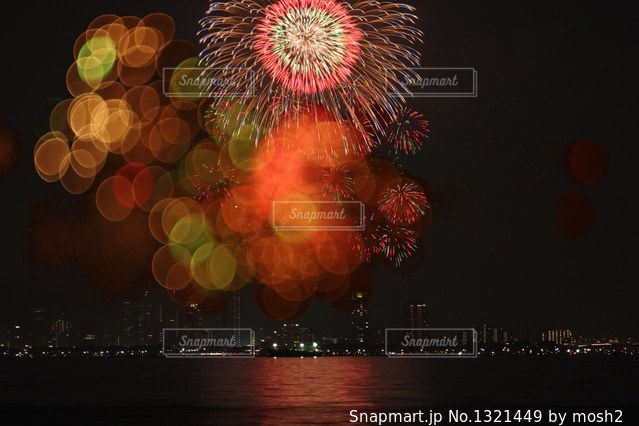 空に花火の写真・画像素材[1321449]