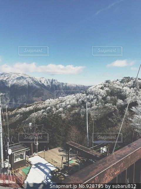 雪の上に行く橋覆われた山 - No.928795