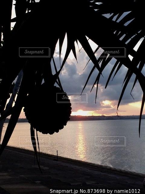秋の夕陽が落ちる瞬間の写真・画像素材[873698]