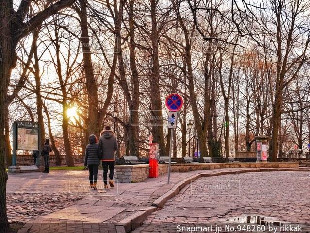 森の横にある道を歩いて人々 のグループの写真・画像素材[948260]