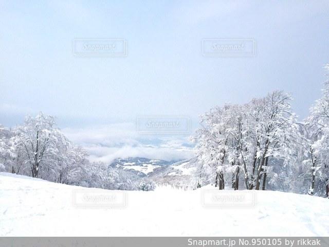 雪をスノーボードに乗る男覆われた斜面 - No.950105
