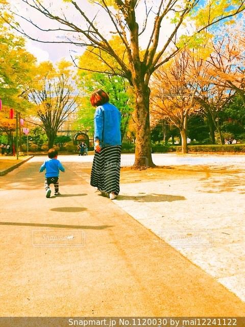 歩道をスケート ボードに乗って少年の写真・画像素材[1120030]