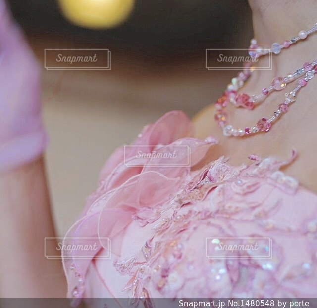 ピンクのドレスの女の子の写真・画像素材[1480548]