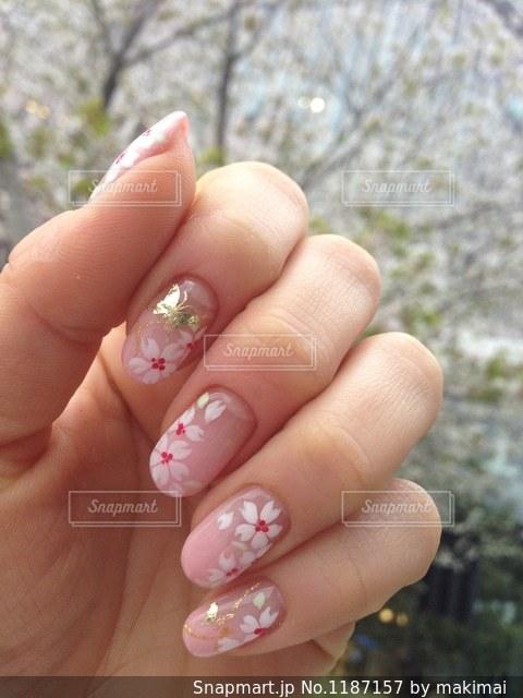 しだれ桜を背景に春ネイルの写真・画像素材[1187157]