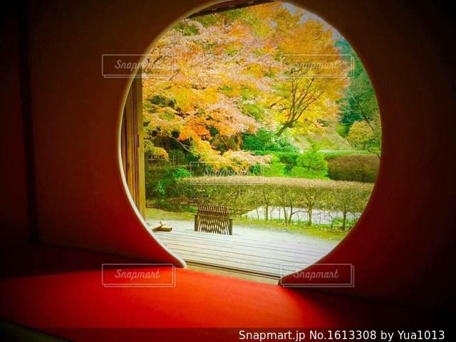 丸窓からの景色の写真・画像素材[1613308]