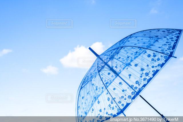 青い傘の写真・画像素材[3671490]