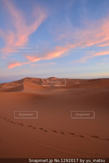 夕暮れと砂漠と足跡の写真・画像素材[1292017]