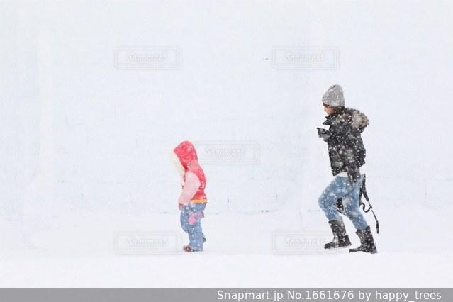 しかりべつ湖コタン、親子の写真・画像素材[1661676]