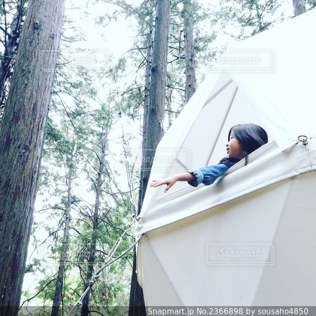テントの窓から女の子の写真・画像素材[2366898]