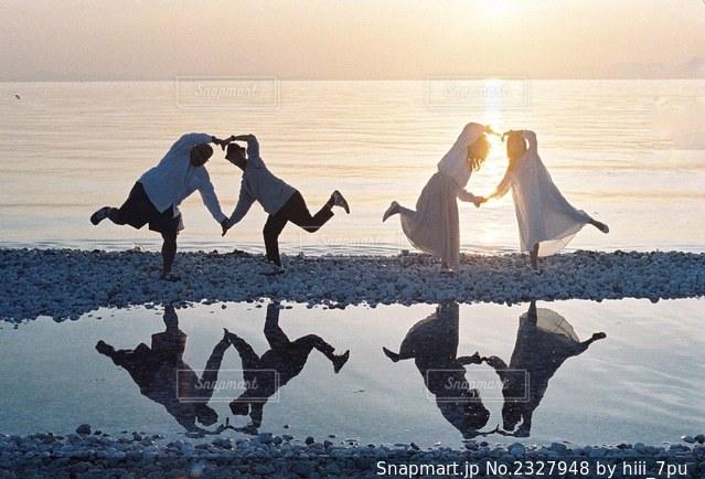 水域の近くの浜辺に立つカモメの群れの写真・画像素材[2327948]