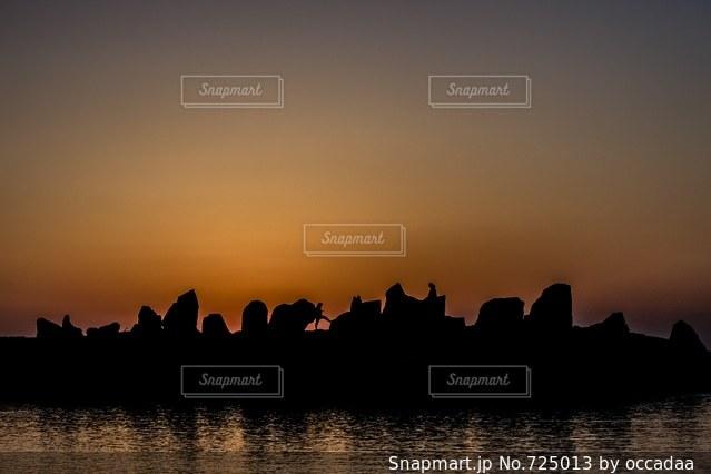 夕日とシルエットの写真・画像素材[725013]