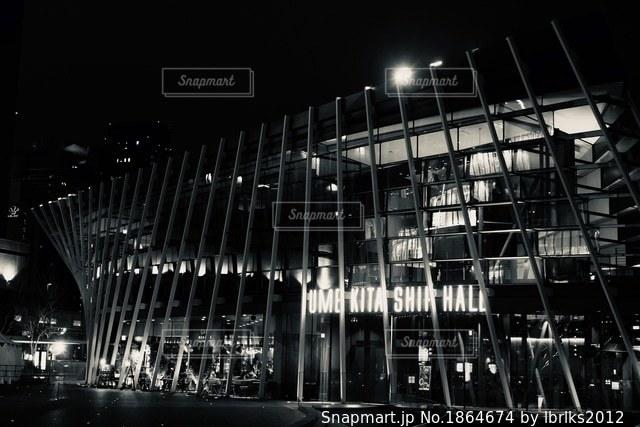 大阪駅付近の建物モノクロの写真・画像素材[1864674]