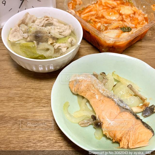 自炊した鮭のムニエルの写真・画像素材[3082043]