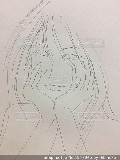 女性のイラスト頬杖つくロングヘアの女性の写真画像素材1847945