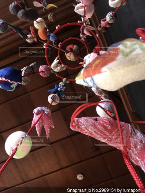 古民家の天井の吊るし飾りの写真・画像素材[2989154]