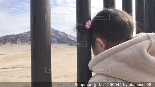 柵から覗く子供の写真・画像素材[1900944]