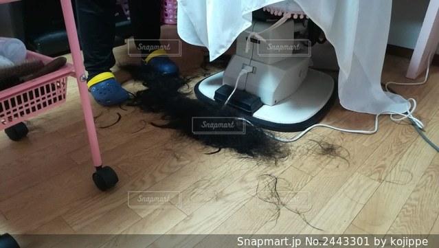 美容室でバッサリ髪の毛を切る女の子の写真・画像素材[2443301]