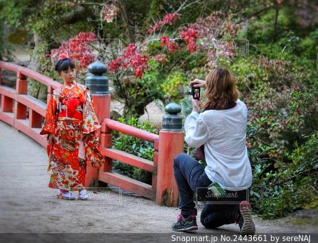着物姿で写真を撮られる女の子の写真・画像素材[2443661]