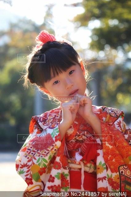 着物姿の女の子の写真・画像素材[2443857]