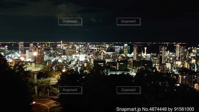 夜の都市の眺めの写真・画像素材[4874448]