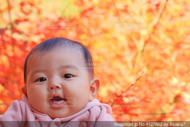 秋の紅葉と母親に抱っこされる赤ちゃんの写真・画像素材[4127862]