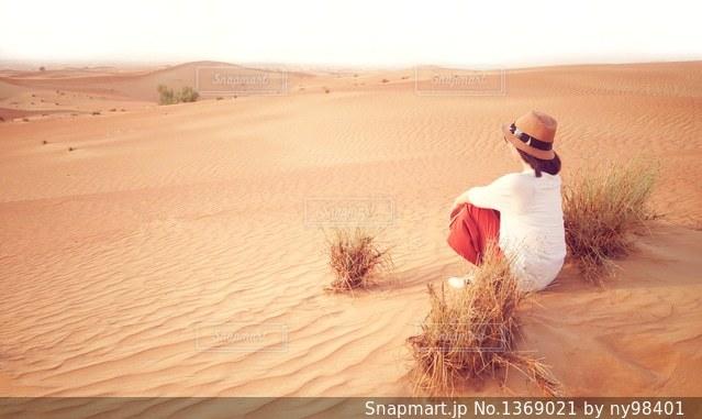 砂漠にての写真・画像素材[1369021]