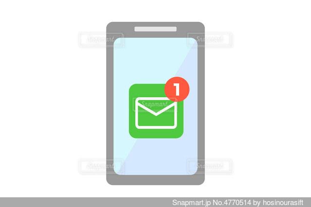 スマートフォン メール受信 イラストの写真・画像素材[4770514]