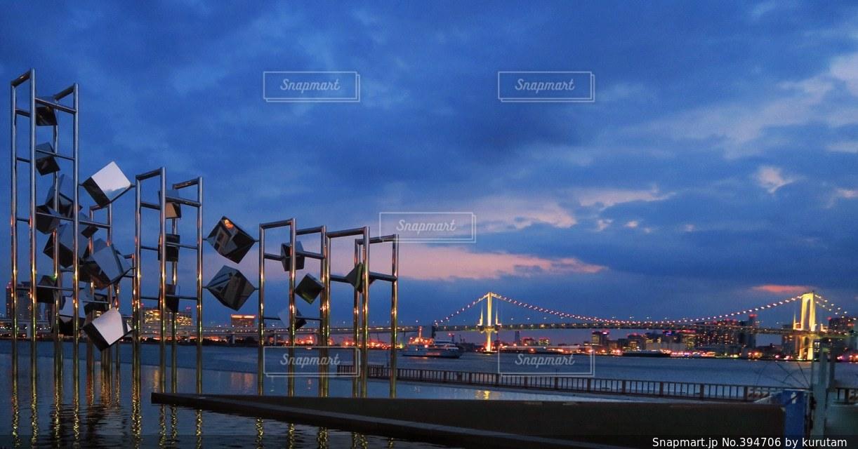 海,東京,夕暮れ,日本,リフレクション,レインボーブリッジ,東京湾,トワイライト