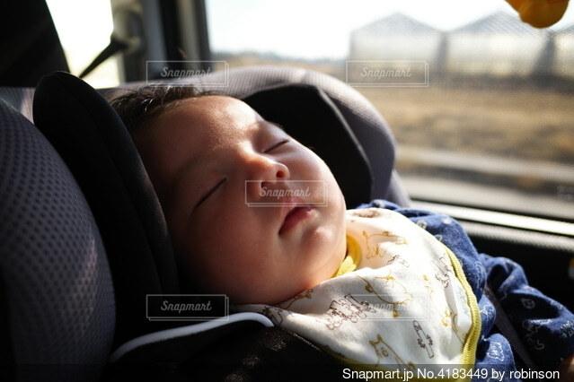 車に揺られてお昼寝の写真・画像素材[4183449]